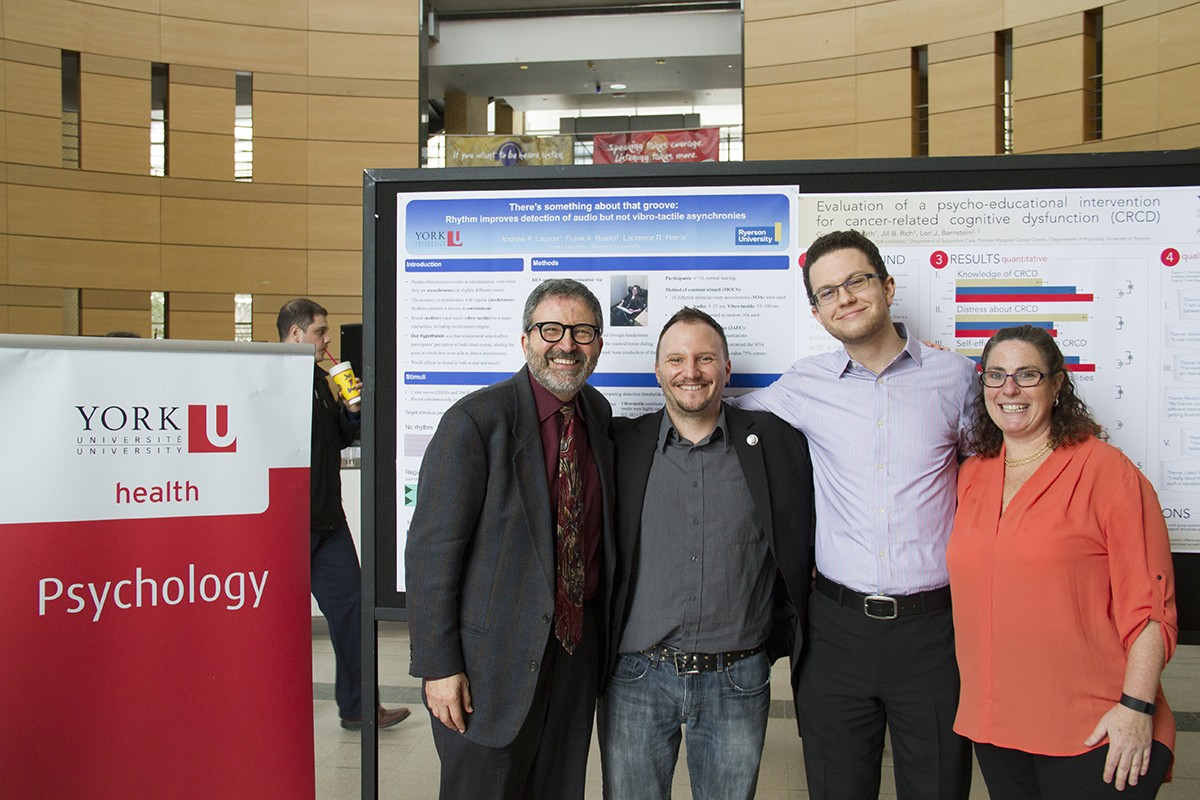 Left to right Dr. Joel Goldberg, Chair Psychology departmentn Andrew Lauzon,Graham McCreath and Dr. Jill Rich Psychology Poster Day co-ordinator