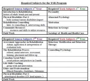 list of required courses for completing the YSR program