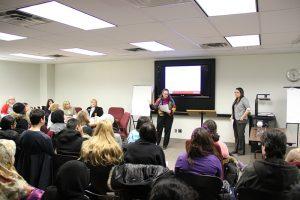 Photo of YSR co ordinators speaking aat YSR information session
